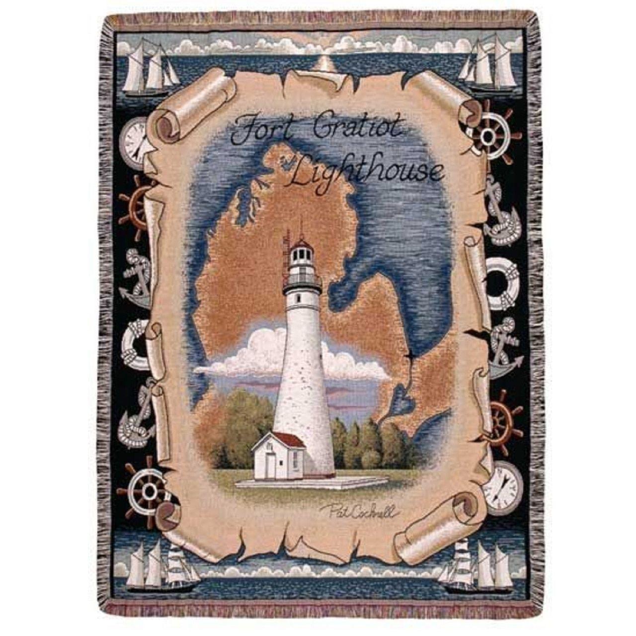 "Fort Gratitot Michigan Lighthouse Rectangular Tapestry Throw Blanket 50"" x 60"""