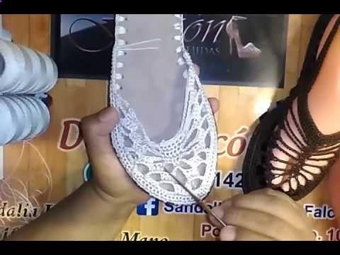 sandalias tejidas a crochet con suela para adulto paso a paso  blanca  - YouTube