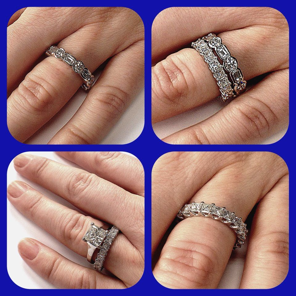 up gold stand setting white eternity bands airline tag prong band wedding diamonds set shared