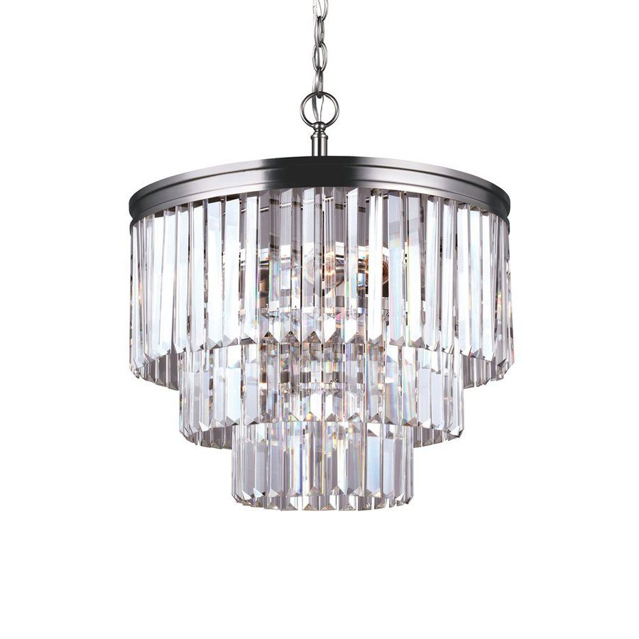 Sea Gull Lighting Carondelet 18 188 In 4 Light Antique Brushed Nickel Crystal Clear Gl Waterfall Chandelier 3114004 9