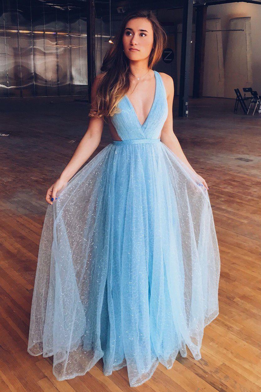 Unique aline v neck sky blue long prom dress aqua homecoming