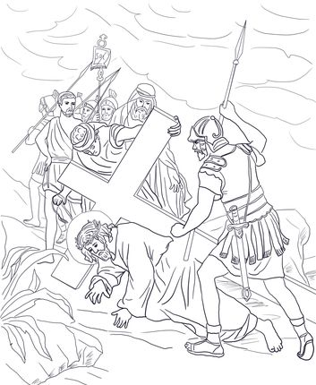 Jesus Falls a Second Time | Catholic Kids Coloring Pages | Pinterest