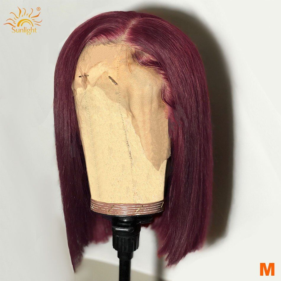 Straight 99j Short Bob Wigs 13x4 Lace Front Human Hair Wigs With Baby Hair 150 Sunlight Peruvian Remy Hair Pre Burgundy Bob Bob Lace Front Wigs Short Bob Wigs