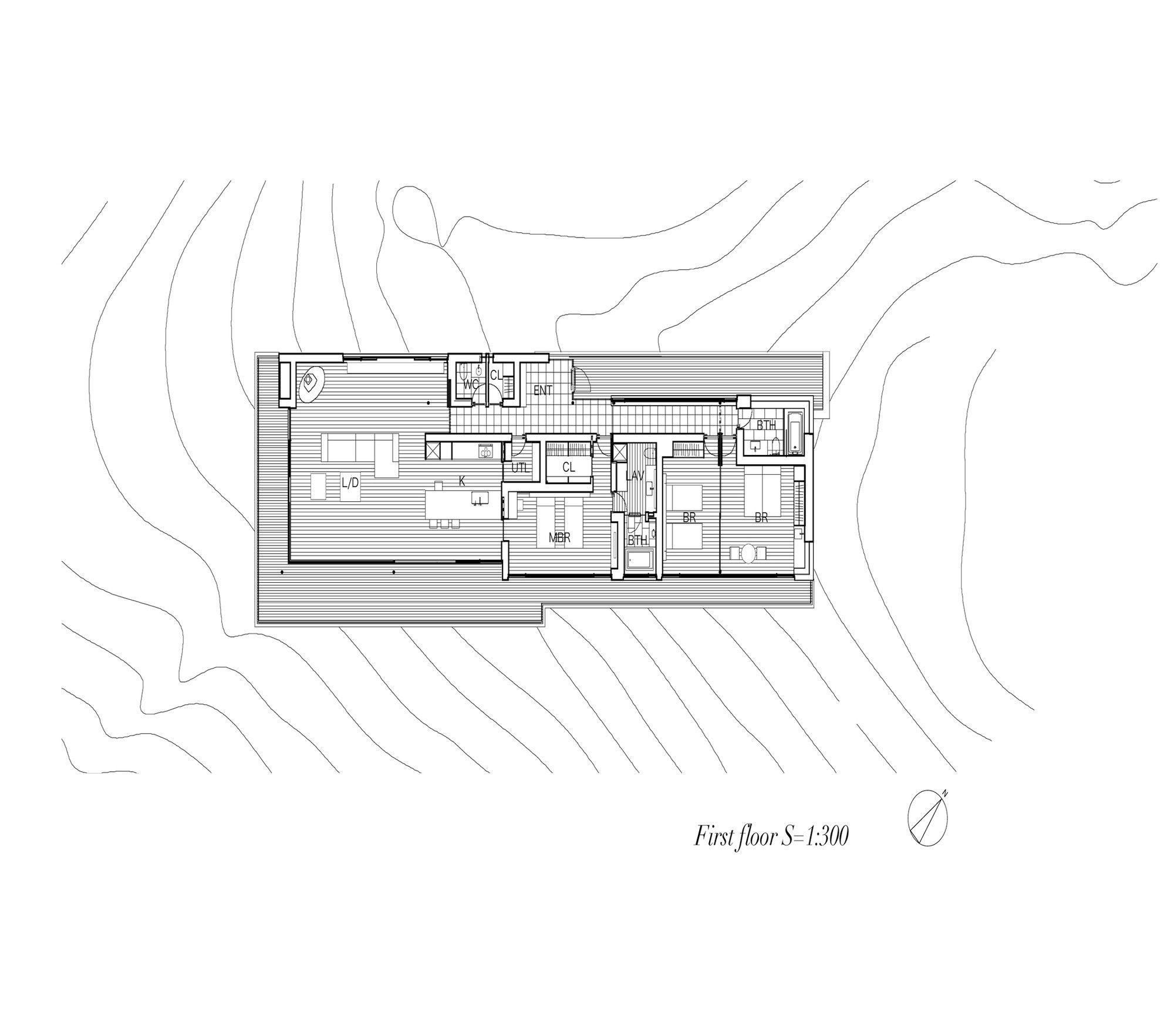 Image 32 of 34 from gallery of House in Yatsugatake / Kidosaki Architects Studio. First Floor Plan