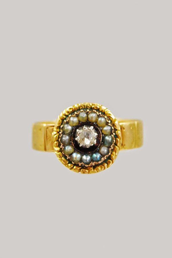 Antique Georgian 18k Diamond & Pearl Ring, 1820s
