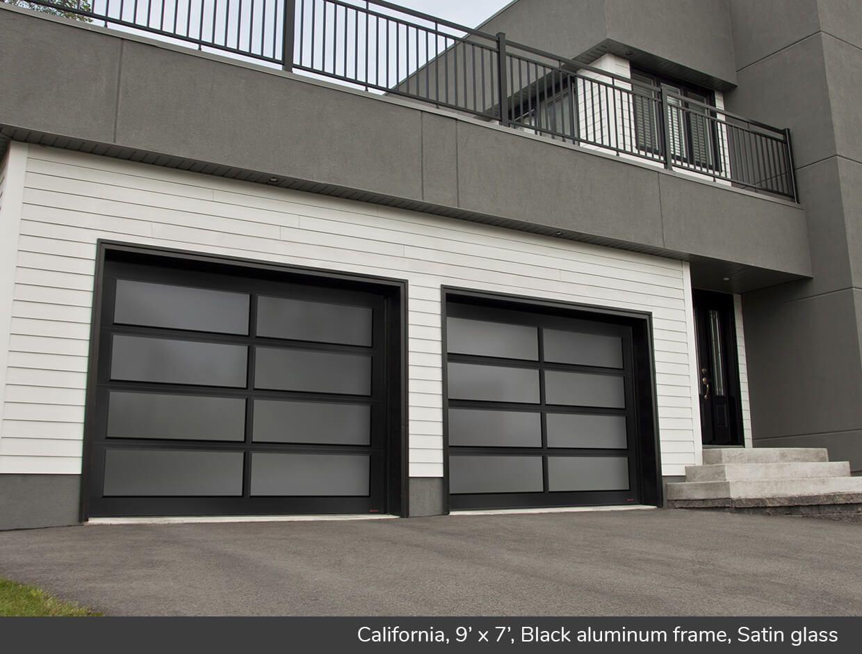 California 9 X 7 Black Aluminum Frame Satin Glass Modern Garage Doors Contemporary Garage Doors Modern Garage
