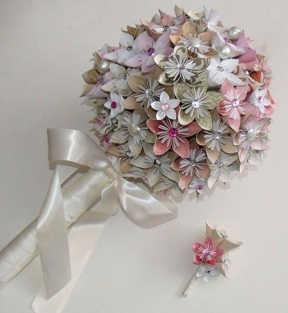 Vintage romantic topiary paper wedding by for Romantic origami ideas