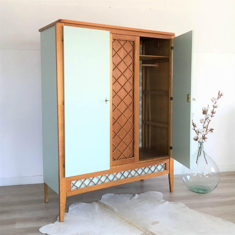 armoire vintage bleu glacier chouette fabrique sweet. Black Bedroom Furniture Sets. Home Design Ideas