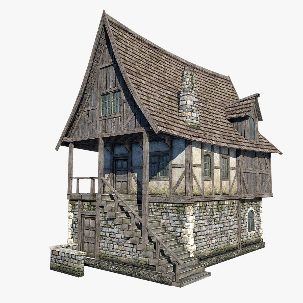 Low poly model of fantasy medieval house http www for 3d model of house