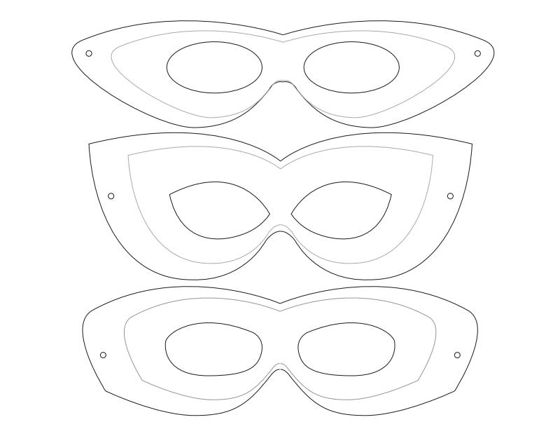 Mask template. Paper mache/plastic/metal/fabric masks