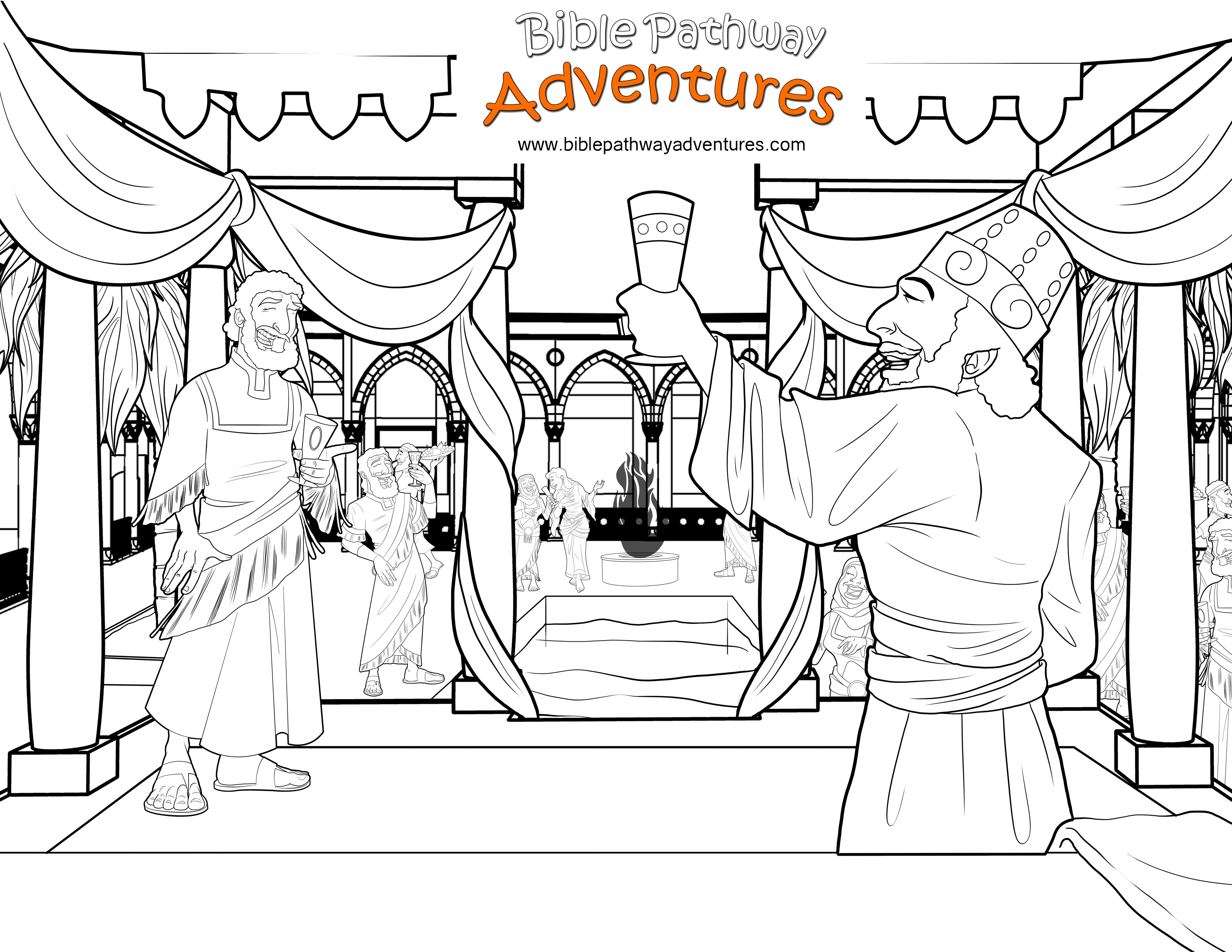 Free Bible Coloring Page: Party With The King of Persia | Bibel ...