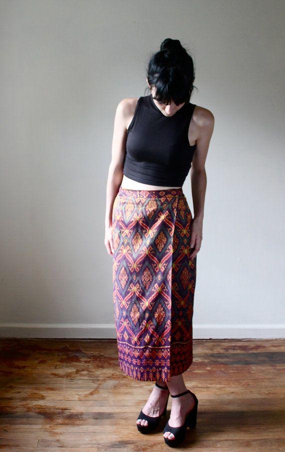 dc57fd9611 Thai Silk Ikat Maxi Skirt — folkandfables.etsy.com | Prints ...