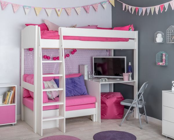 Terrific Unos21 Highsleeper With Sofa Bed In Pink With Fixed Desk Bralicious Painted Fabric Chair Ideas Braliciousco