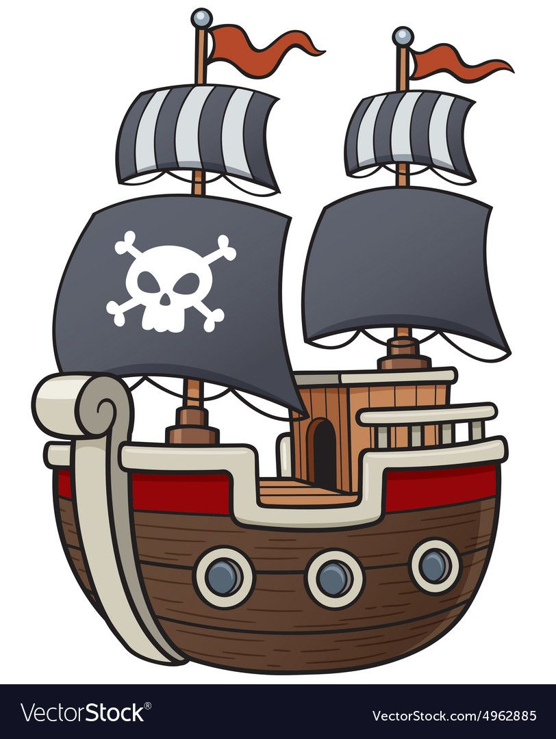 Pirate Ship Royalty Free Vector Image Vectorstock Pirate Images Pirate Ship Kids Pirate Ship
