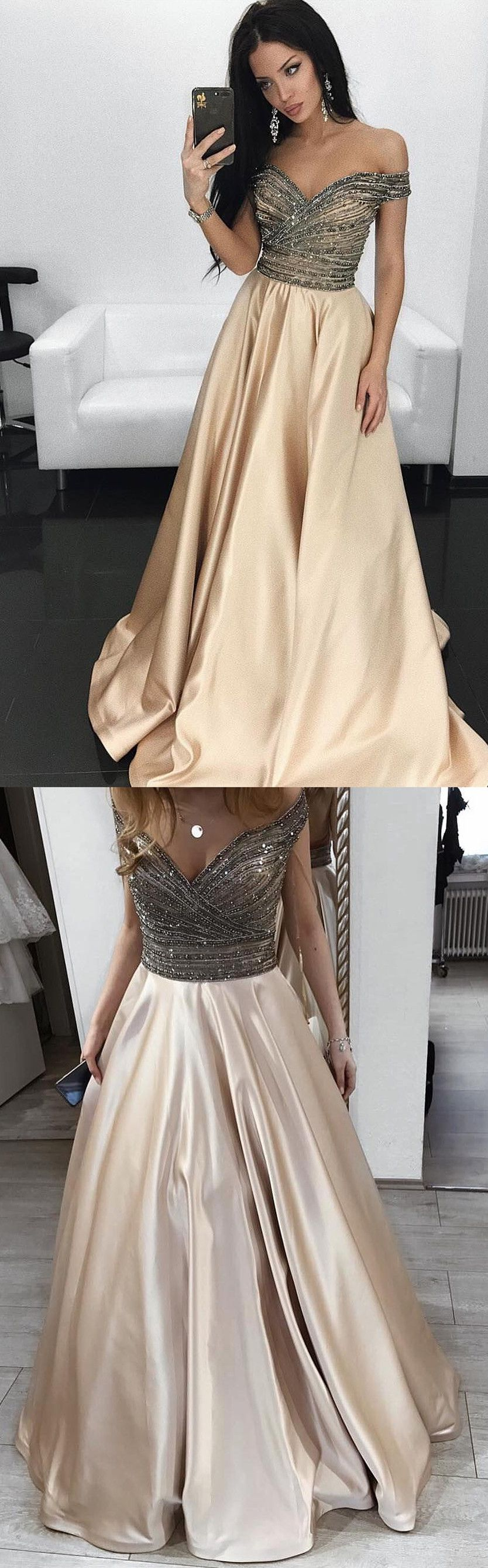 Gorgeous off the shoulder champagne long prom dress prom dress