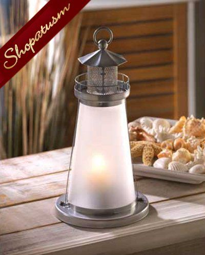 Lot of 10 Frosted Glass Lookout Lighthouse Candle Lamp Lantern Nautical Decor