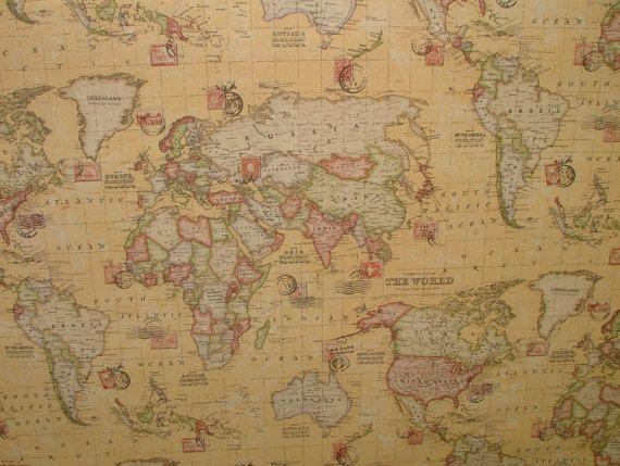 sand atlas world globe map cotton linen fabric curtain blinds craft quilting