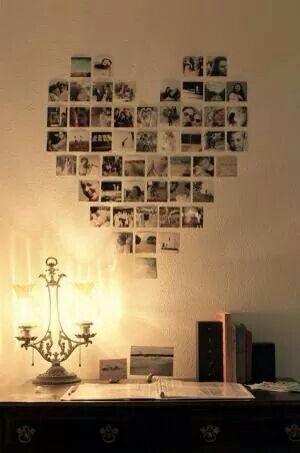Fotowand in hartvorm fotowand decoraci n de unas for Hangedekoration wohnzimmer