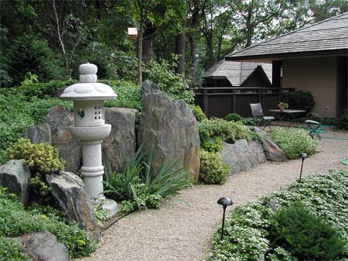 Large Rocks along the path with lantern to light the way