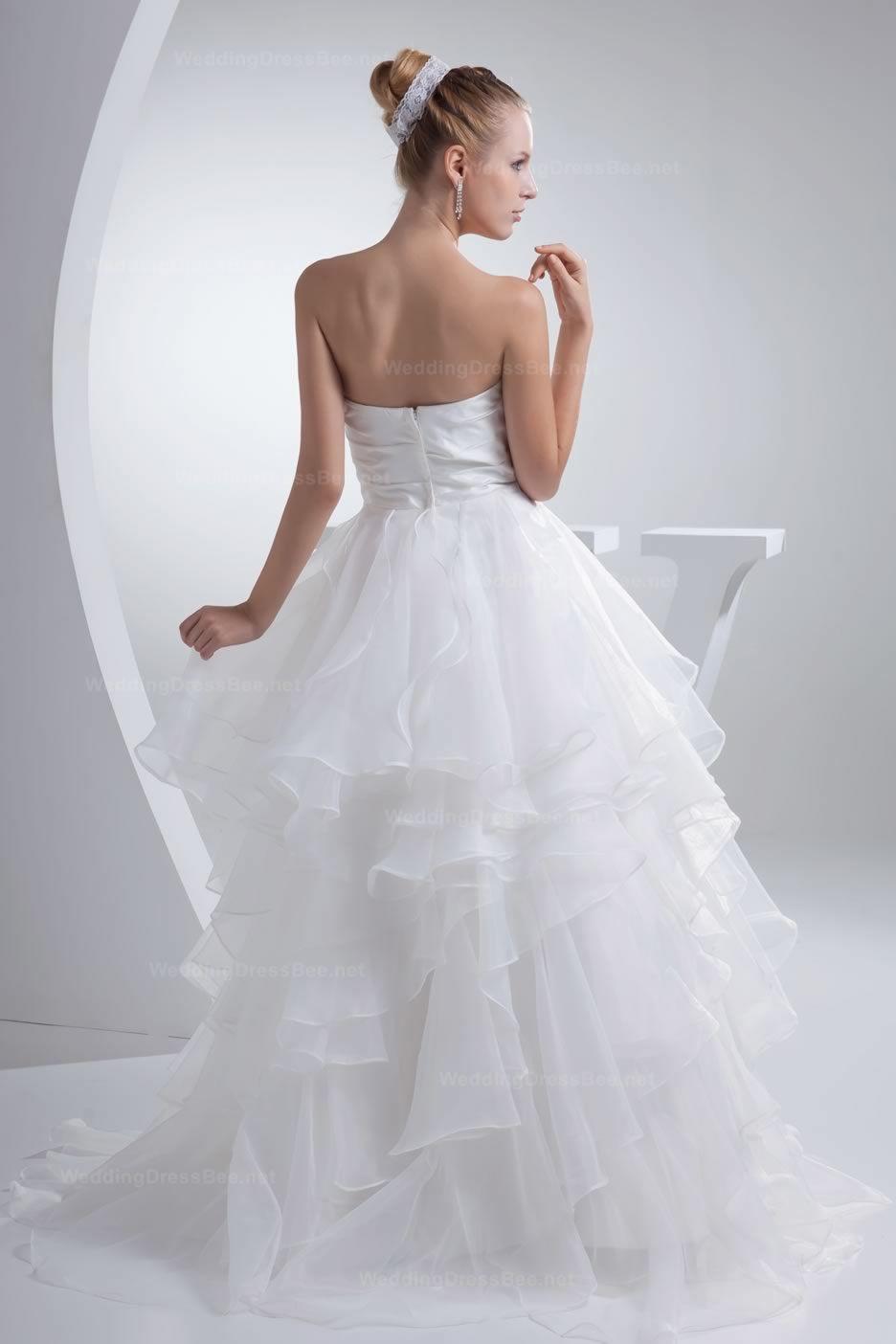 Sheer wedding dress  Pretty Satin Bodice Ruffled Sheer Organza Bottom Bow Wedding Dress