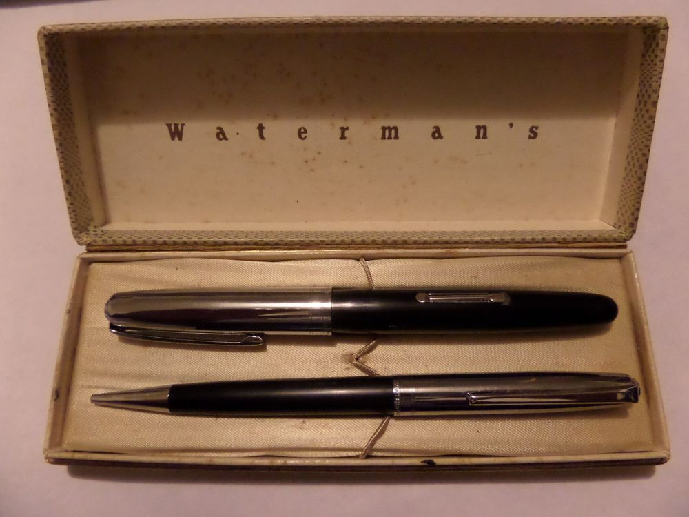 VINTAGE WATERMAN'S PEN AND PENCIL SET AND BOX