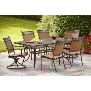 Hampton Bay Niles Park 7 Piece Sling Patio Dining Set Parks Home And Dinin