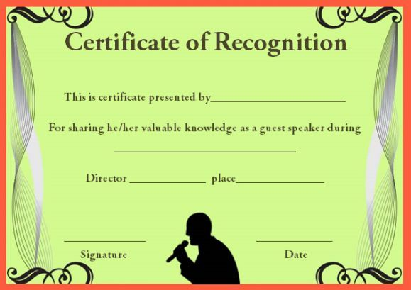 certificateof recognition template for guest speaker Certificate