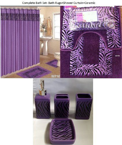 Bath Accessory Set Purple Zebra