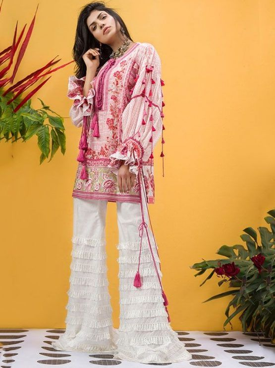 39fa925b6e ETHNIC by Outfitters #LawnCollection Unstitched 3 Piece Suit Hungarian  Fauna in Pink #SayNoToReplicas