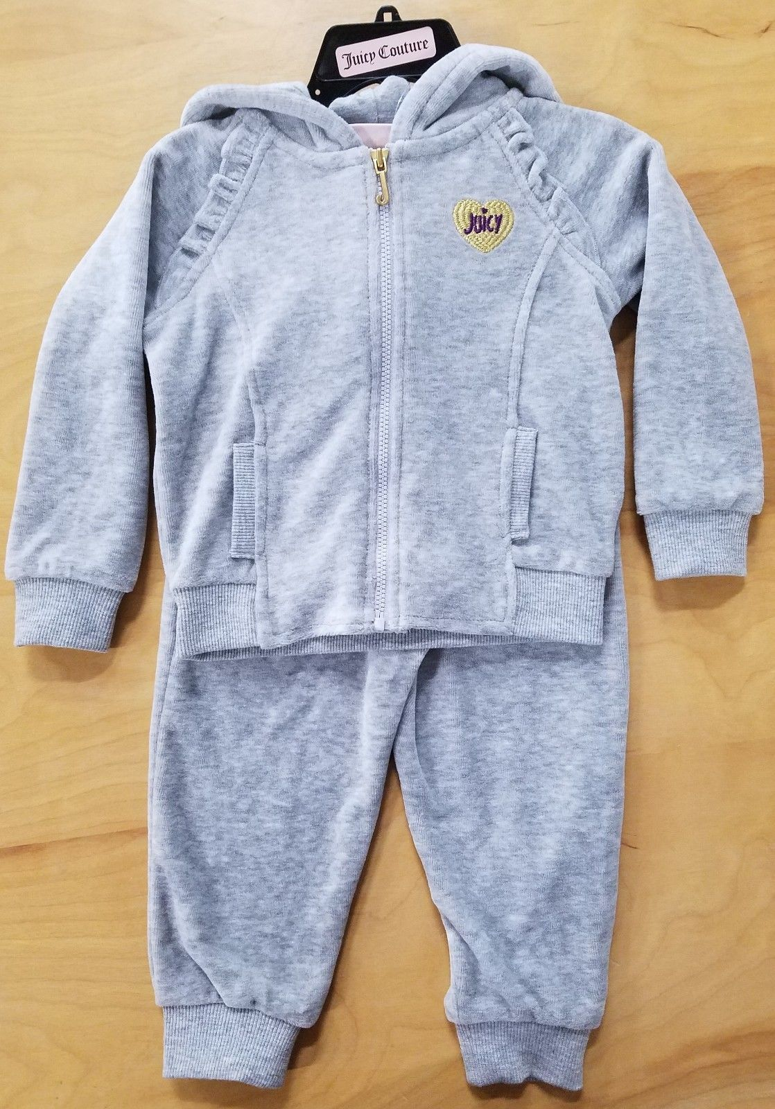 c12ea529b86a NWT! Juicy Couture Girls 2 Piece Hooded Velour Tracksuit Silver ...