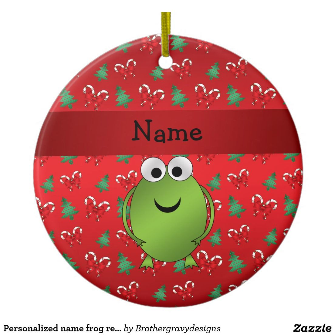 Personalized name ornaments - Personalized Name Frog Red Candy Canes Trees Ceramic Ornament