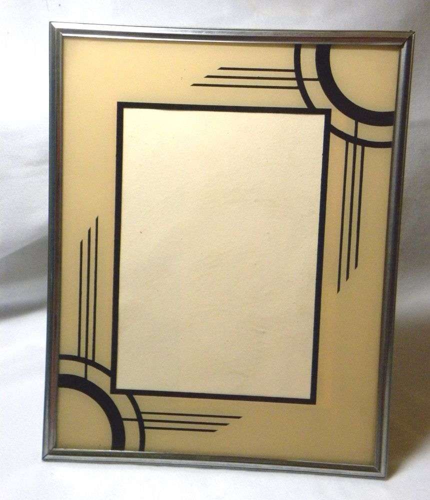 Details About 2 Vintage Art Deco Glass Reverse Painted