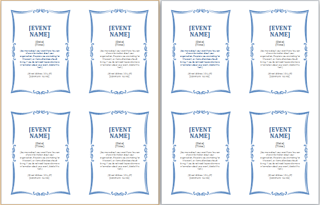 event invitation cards atworddocumentsgenericevent – Event Invitation Templates