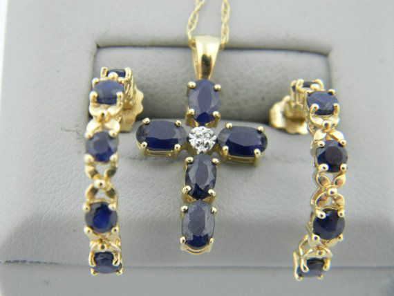 Beautiful 14K Gold Diamond Sapphire Cross Pendant by TraderMagees, $525.00