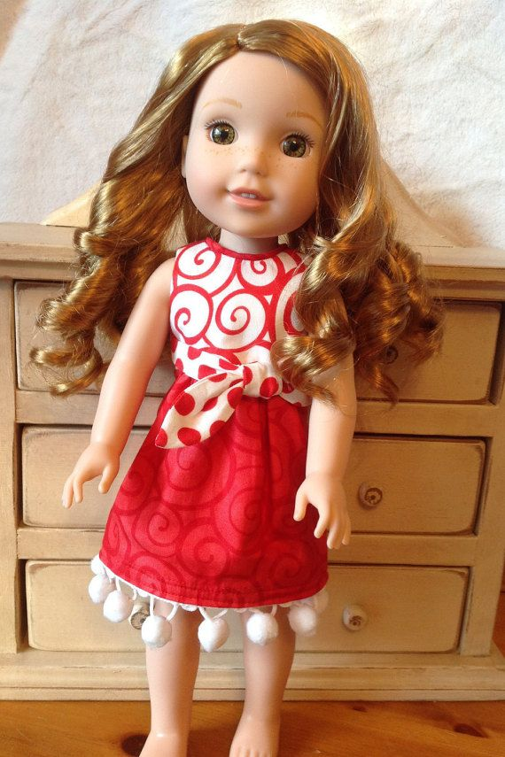 Swirls and pom poms valentine dress by NanaRaindrop on Etsy
