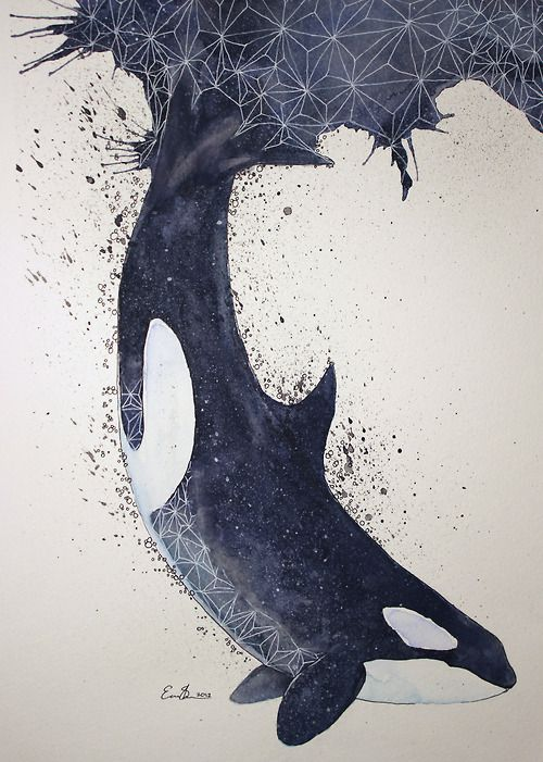 High Concentration Of Happiness Orca Watercolour Ink And White