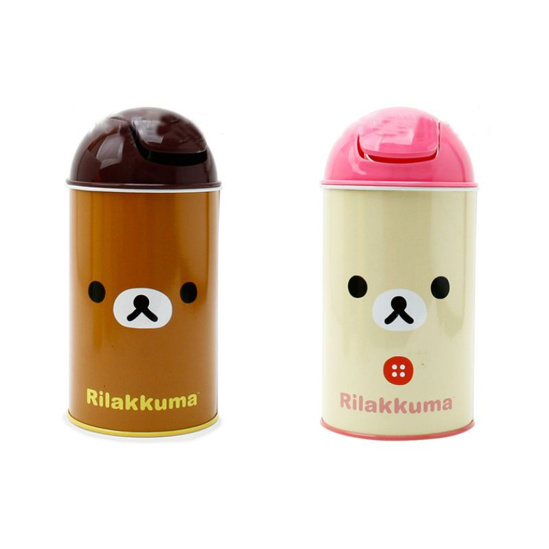 Rilakkuma Mini Trash Can Cute Small Waste Basket Interior Kids Living Bath Room