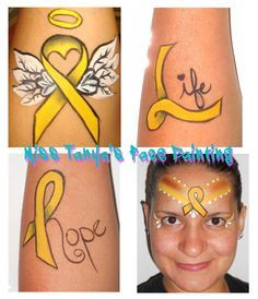Cancer ribbon face paint google search face painting for Gold ribbon tattoos