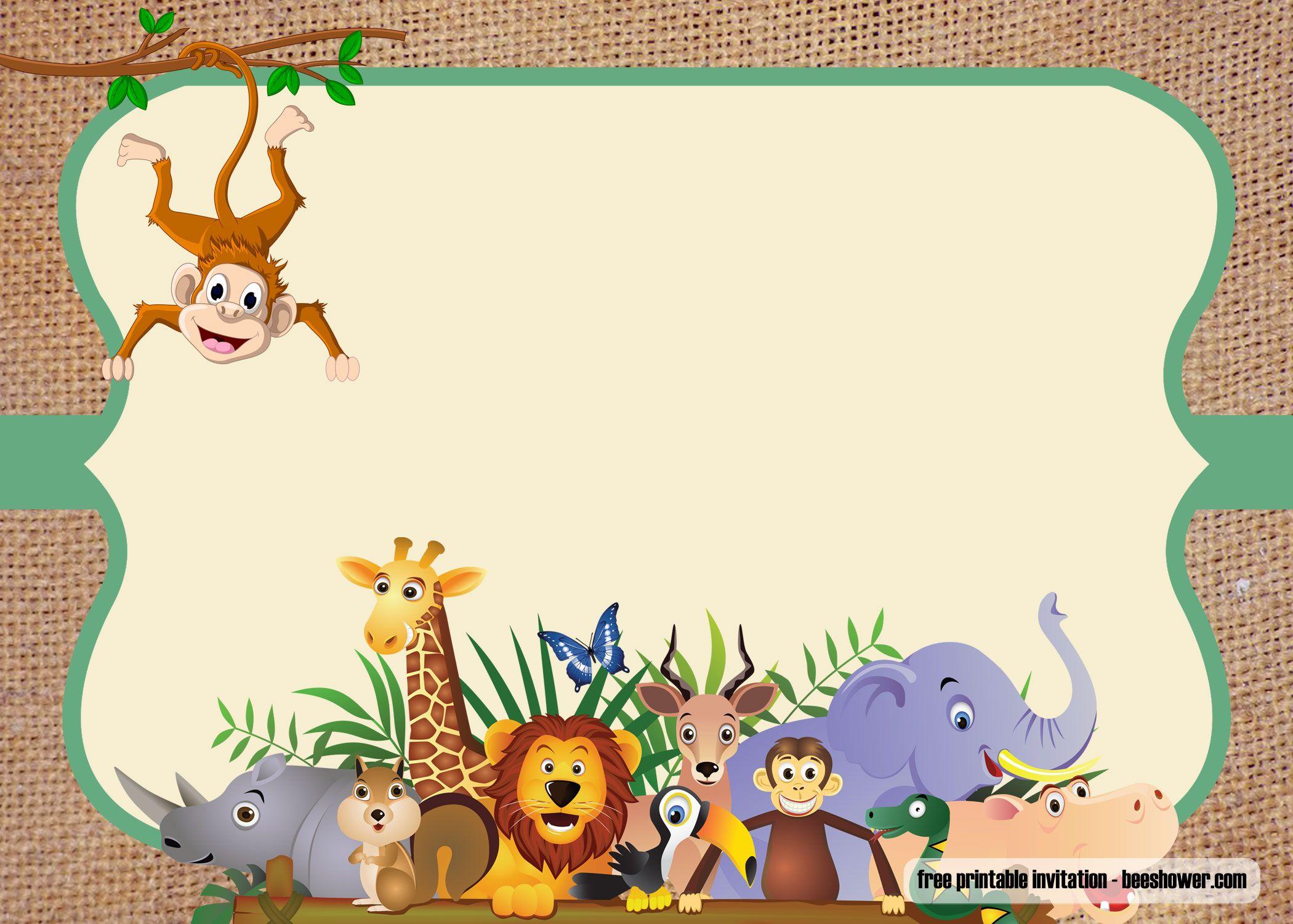 FREE Safari theme baby shower invitations Templates  DREVIO
