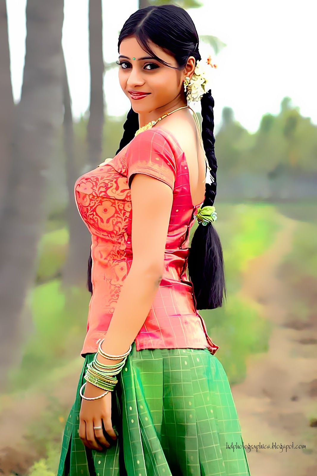 Cute South Indian Teenage Village Girl In Green Skirt Amd -2595