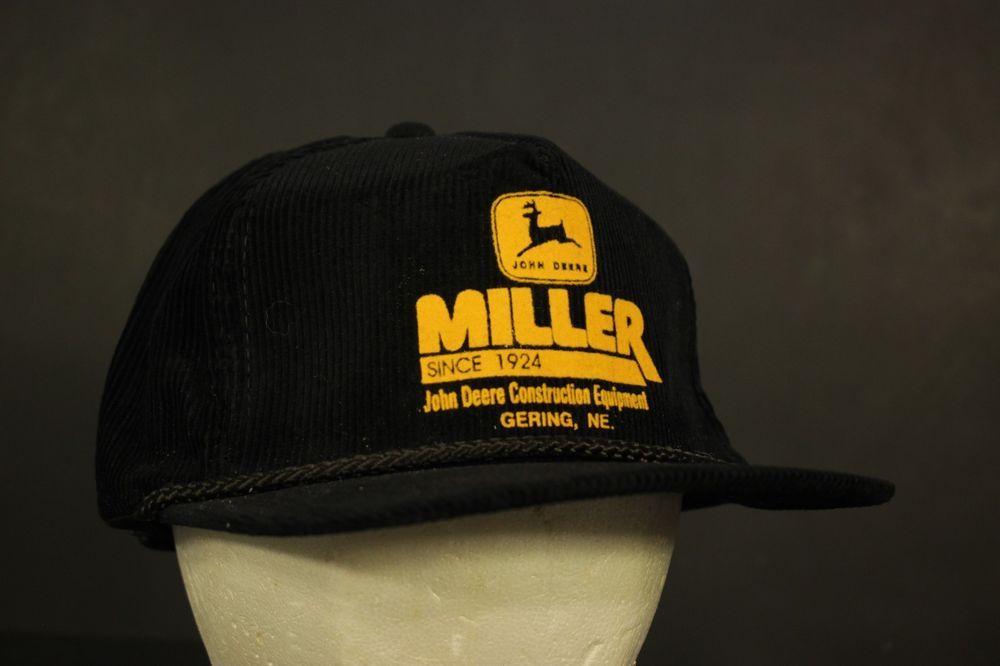 80d666c3af7 John Deere Corduroy Hat Cap Strapback Construction Equipment Black Yellow  Miller  HaT  Trucker