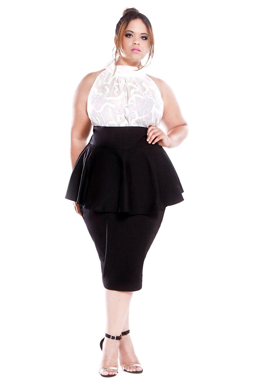 JIBRI Plus Size High Waist Pencil Skirt (Red Hot)   Curvy