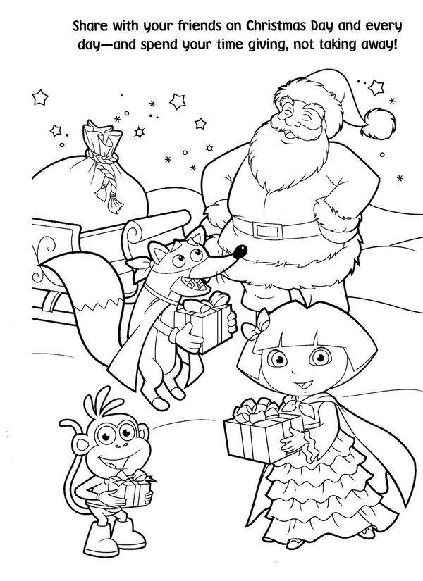 Free-Printable-Dora-Christmas-Coloring-Pages-Picture-57jpg (600×825 - new dora christmas coloring pages free printable