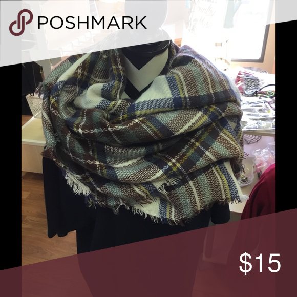 Huge Blanket Scarf Stylish Plaid As pictured Accessories Scarves & Wraps