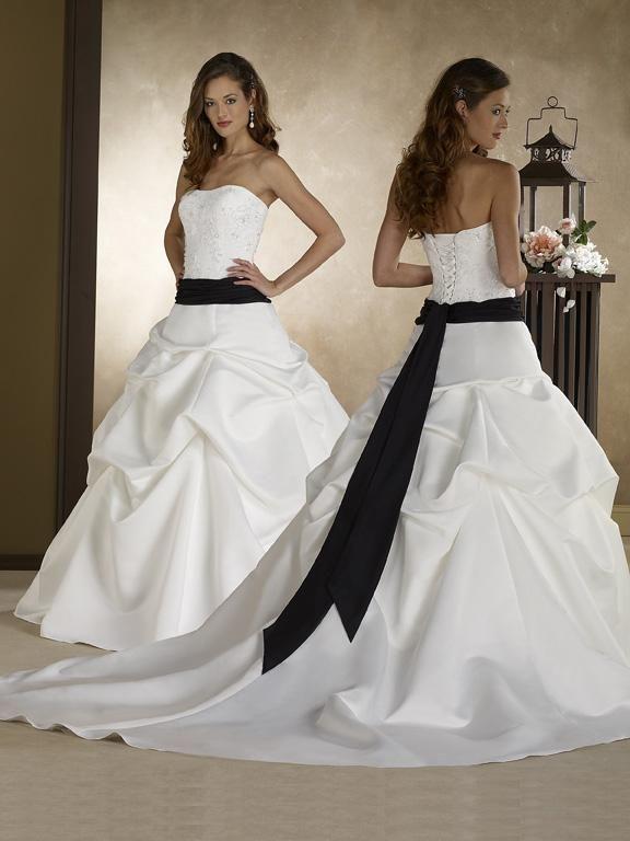 Clothing Strapless Ruffles Sash Ball Gown Black and White Wedding ...