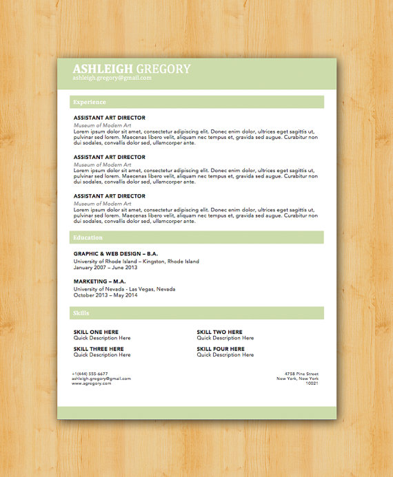 Gregory Resume Template - Modern Resume Template - Instant - resume doc format
