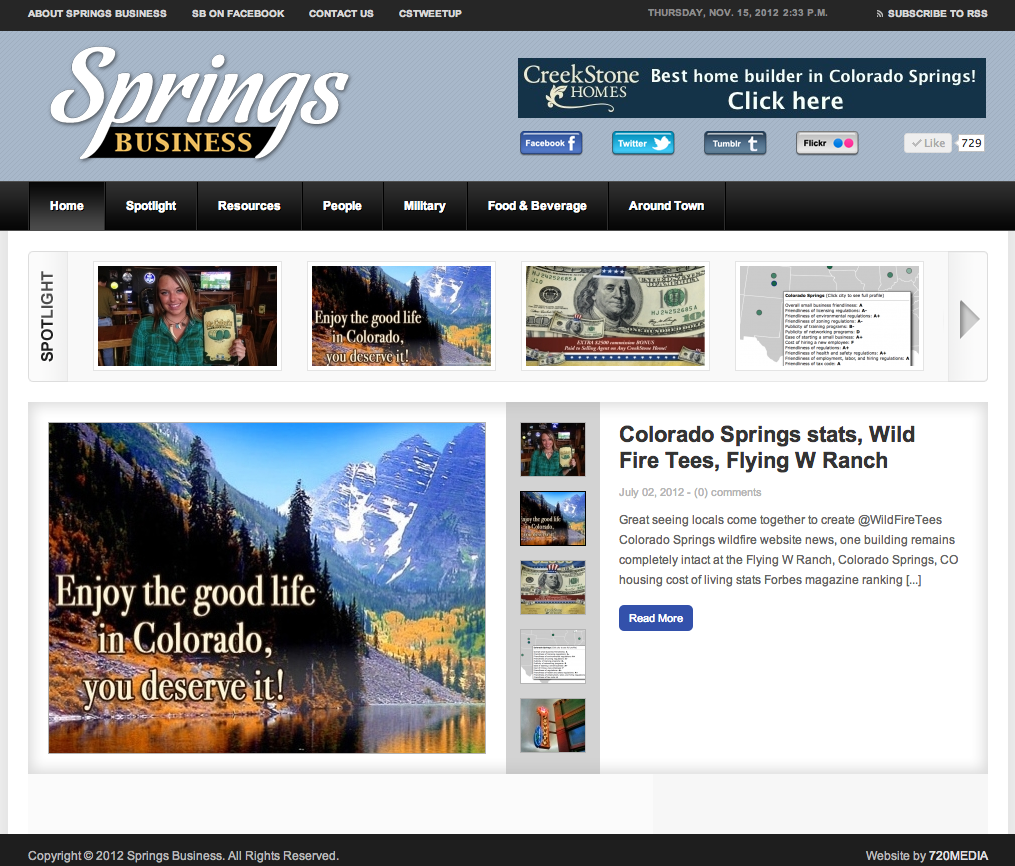 Creekstone Homes Banner Ad On Springs Business Blog Http Creekstone Homes Com Website Design And Marketing By 720media In Colorado Springs Colorado Springs