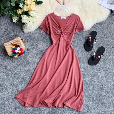 Boho Style Korean Academy Style Knotted V-collar Short Sleeve Waist Slim A-shaped Dress