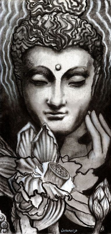 Original buddhist art yoga art mukula mudra lotus art ashram temple art black and white charcoal and chalk on canvas title i am
