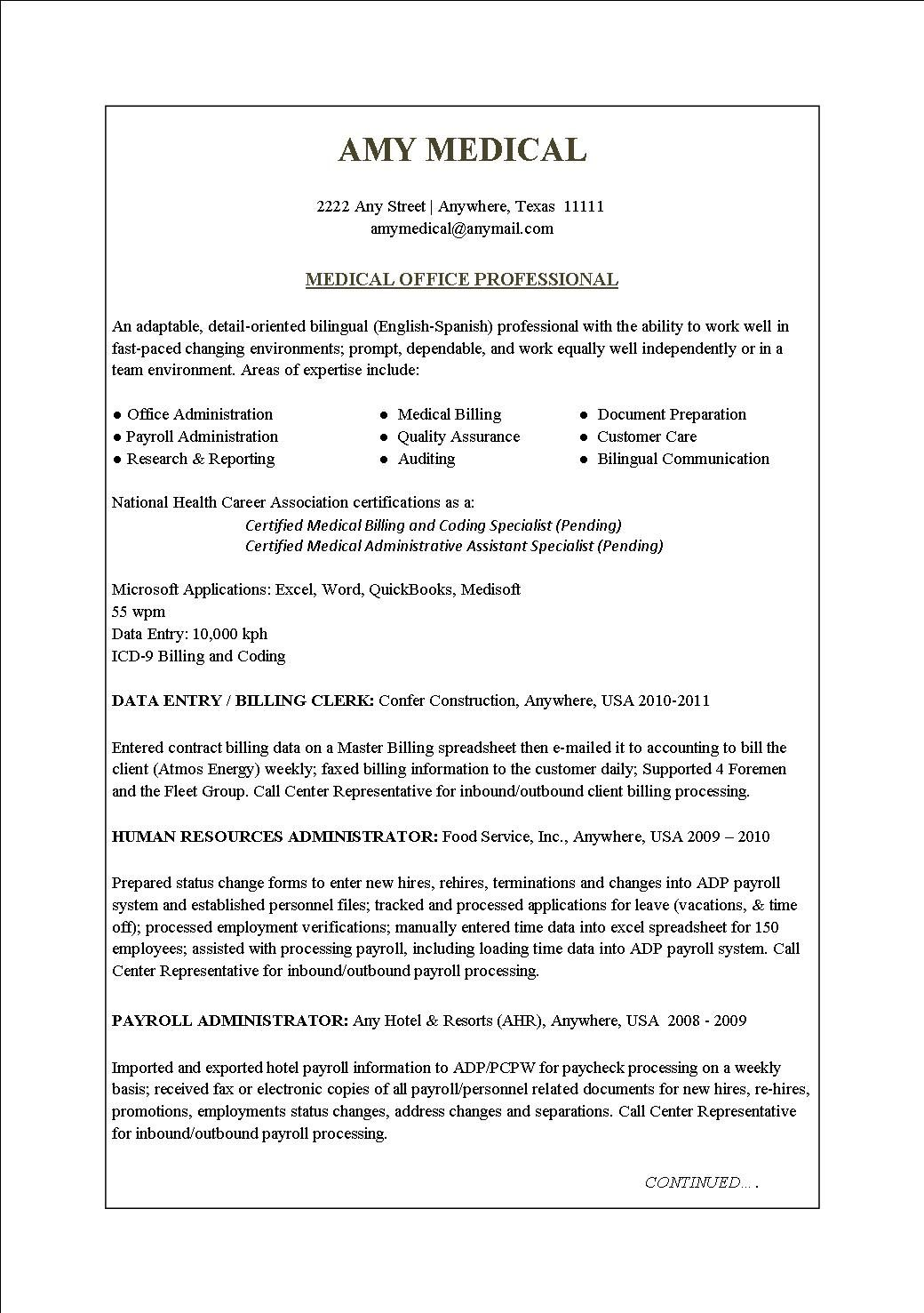Good Medical Administrative Specialist Sample Resume Surprising Medical Office  Resume 14 Resume Sample Receptionist Or . Inside Medical Professional Resume